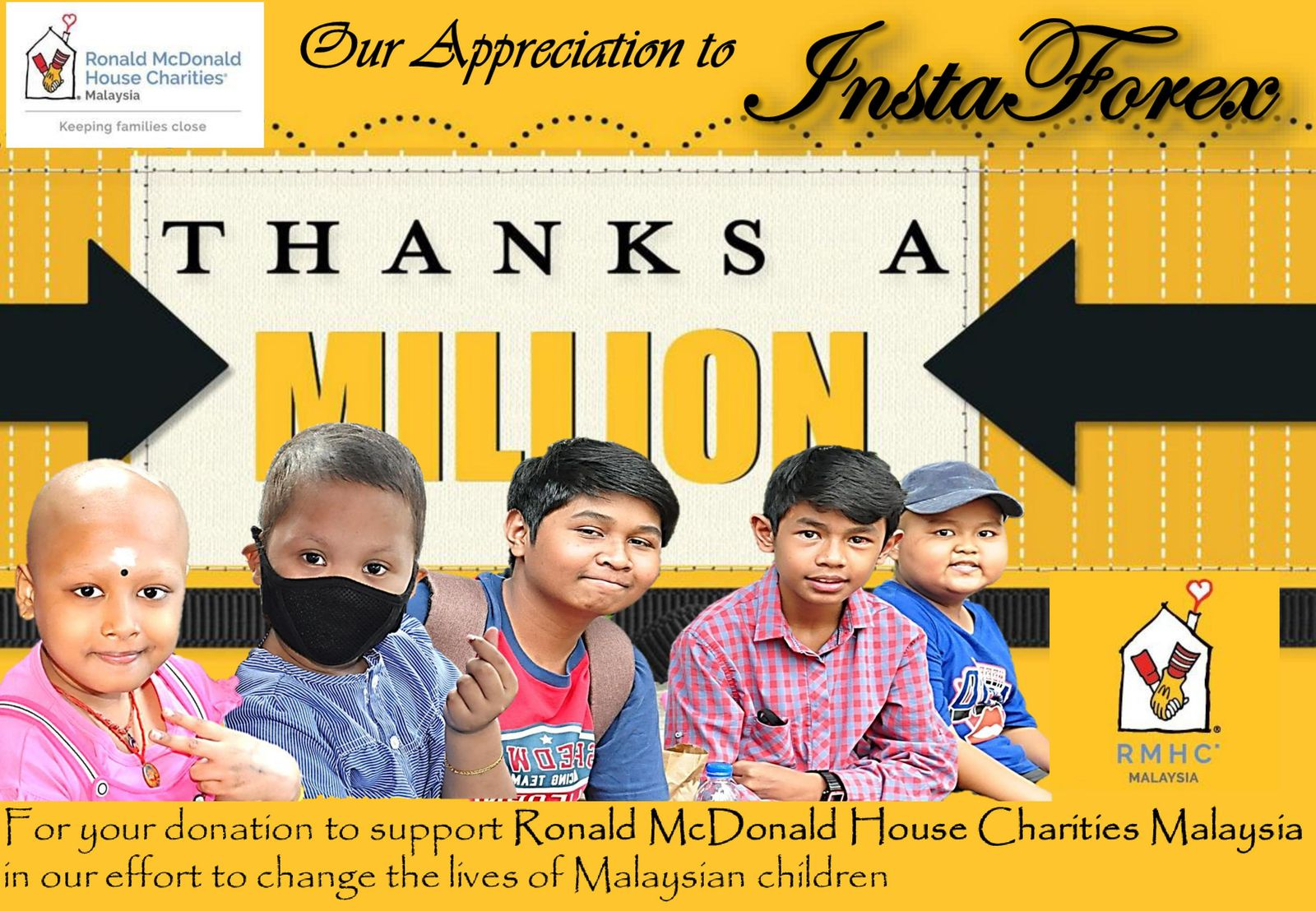 InstaForex bantu Ronald McDonald Children's Charities Fund of Malaysia