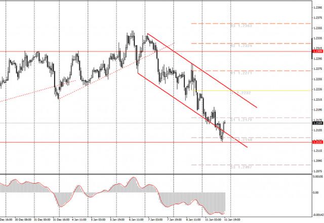 面向初学者的分析和交易信号。1月12日如何交易欧元/美元货币对? 周一的分析。为周二做准备。