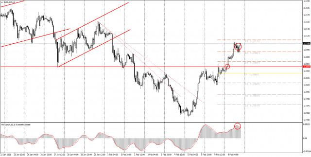 面向初学者的分析和交易信号。2月10日如何交易欧元/美元货币对? 周二的分析。为周三做准备。