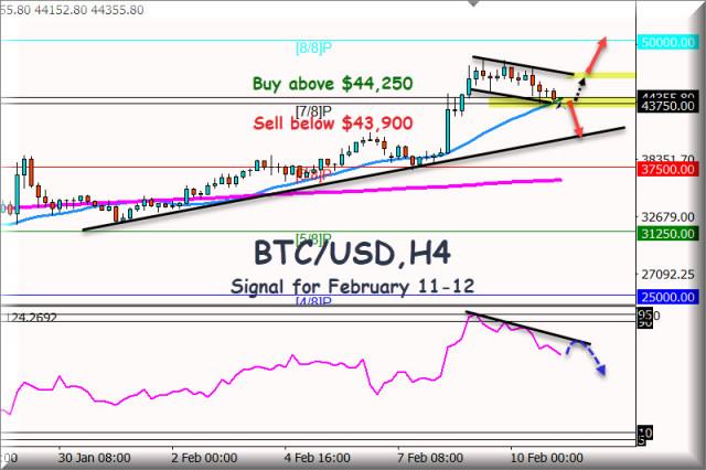 Sinyal Trading untuk BTC/USD untuk 07-08 Februari, 2021: Level Utama $44,150