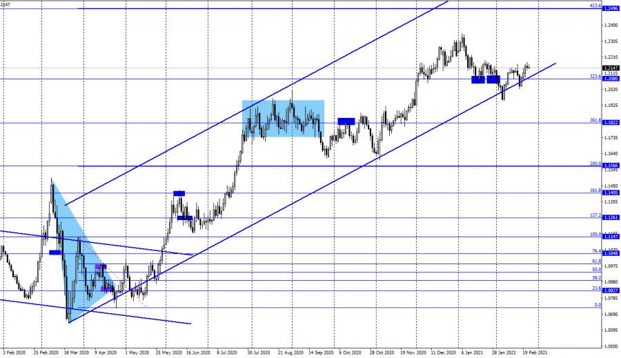 analytics6035f0819a7dc - EUR/USD. 24 февраля. Отчет COT. Джером Пауэлл: экономические перспективы остаются неопределенными