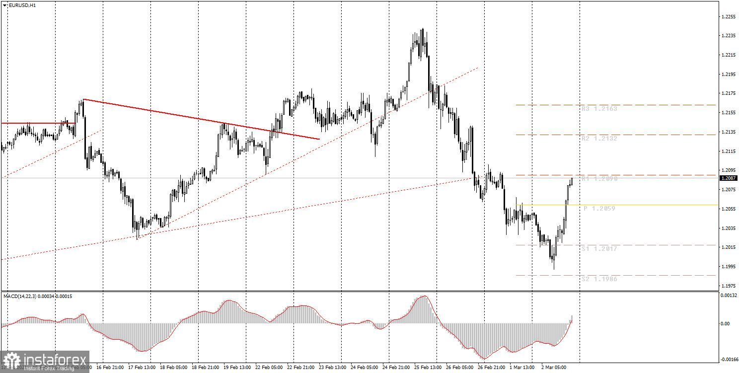 面向初学者的分析和交易信号。03月03日如何交易欧元/美元货币对? 周二的分析。为周三做准备。