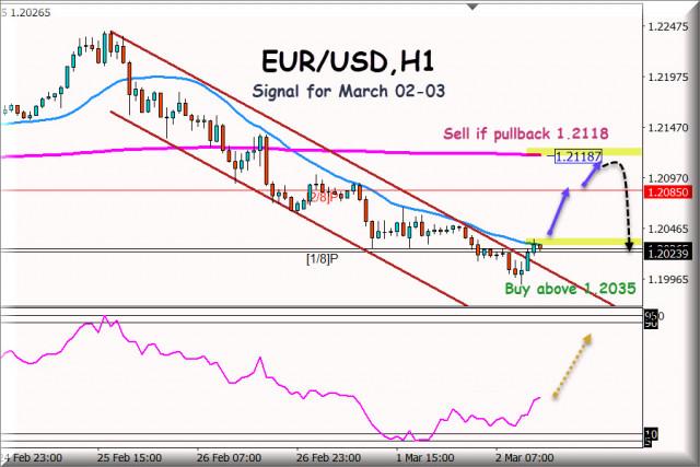 Търговски сигнал за EUR/USD за 2 - 3 март 2021 г.: Ключово ниво на 1,2016