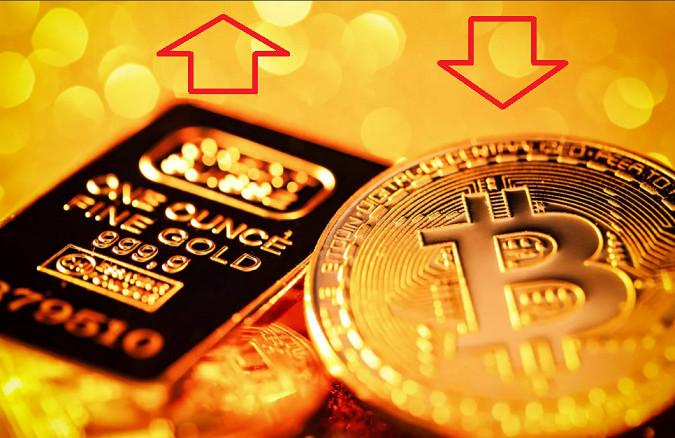 Чем дешевле биткоин - тем дороже золото