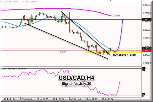 Търговски сигнал за USD/CAD за 30 юли 2021 г .: Купете над 1.2430