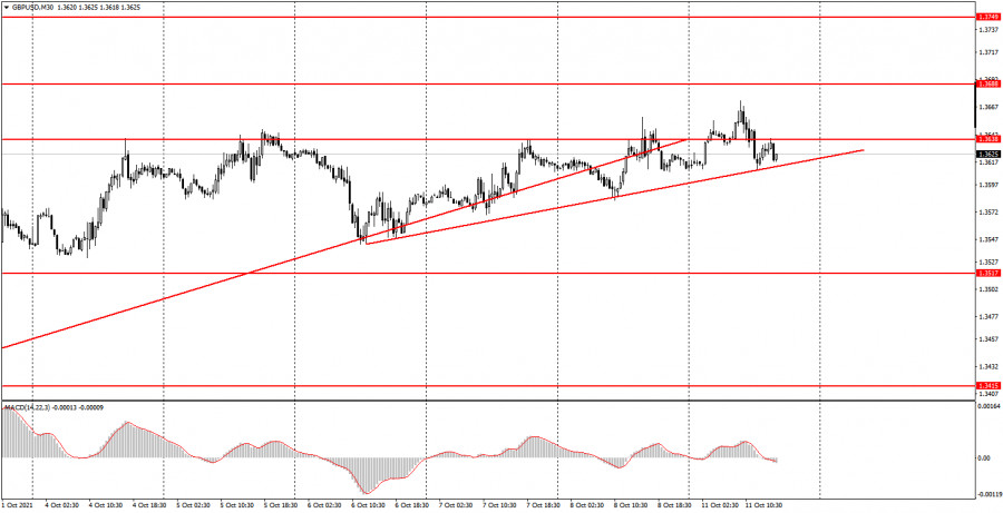 How to trade GBP/USD on October 12? Simple tips for beginners. The pound continues to adhere to a weak upward trend